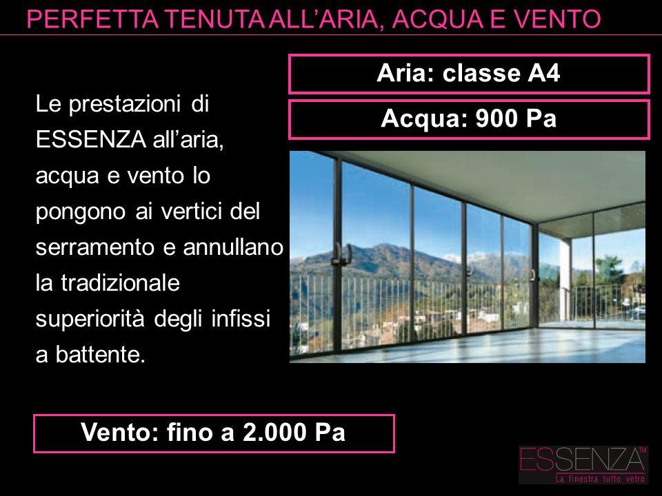Aria: classe A4 Acqua: 900 Pa Vento: fino a 2.000 Pa