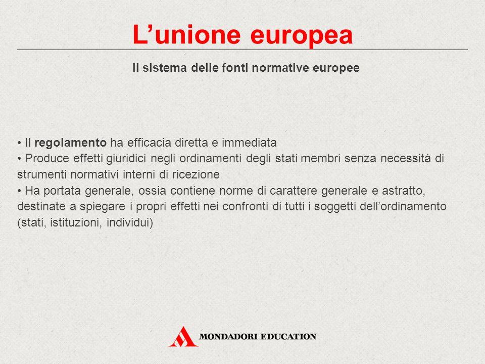 Il sistema delle fonti normative europee