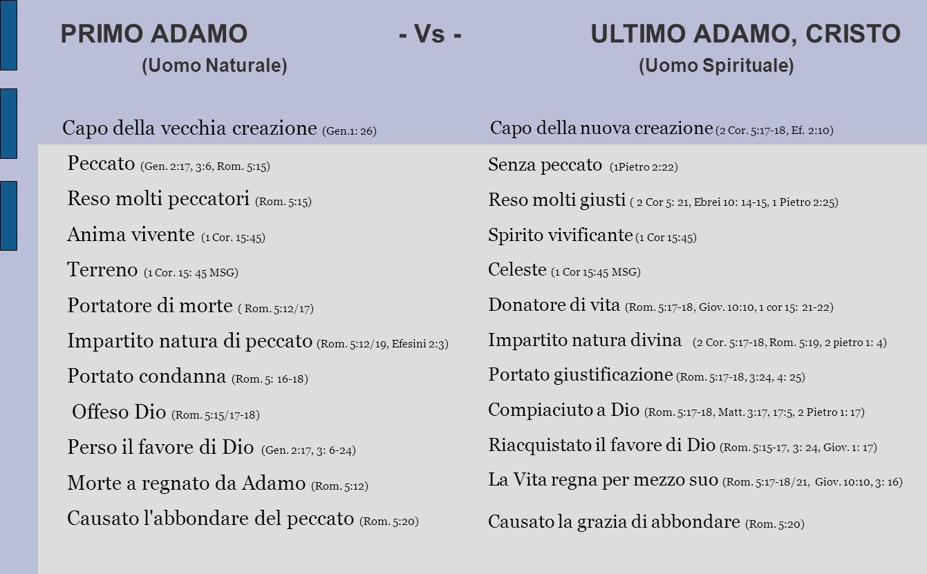 PRIMO ADAMO - Vs - ULTIMO ADAMO, CRISTO