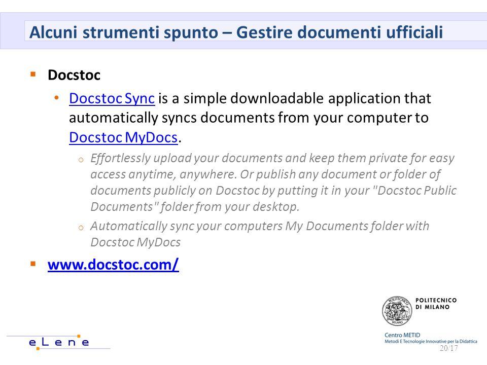 Alcuni strumenti spunto – Gestire documenti ufficiali