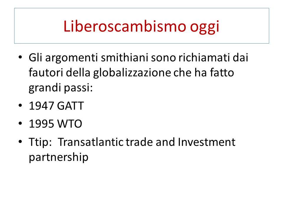 Liberoscambismo oggi Gli argomenti smithiani sono richiamati dai fautori della globalizzazione che ha fatto grandi passi: