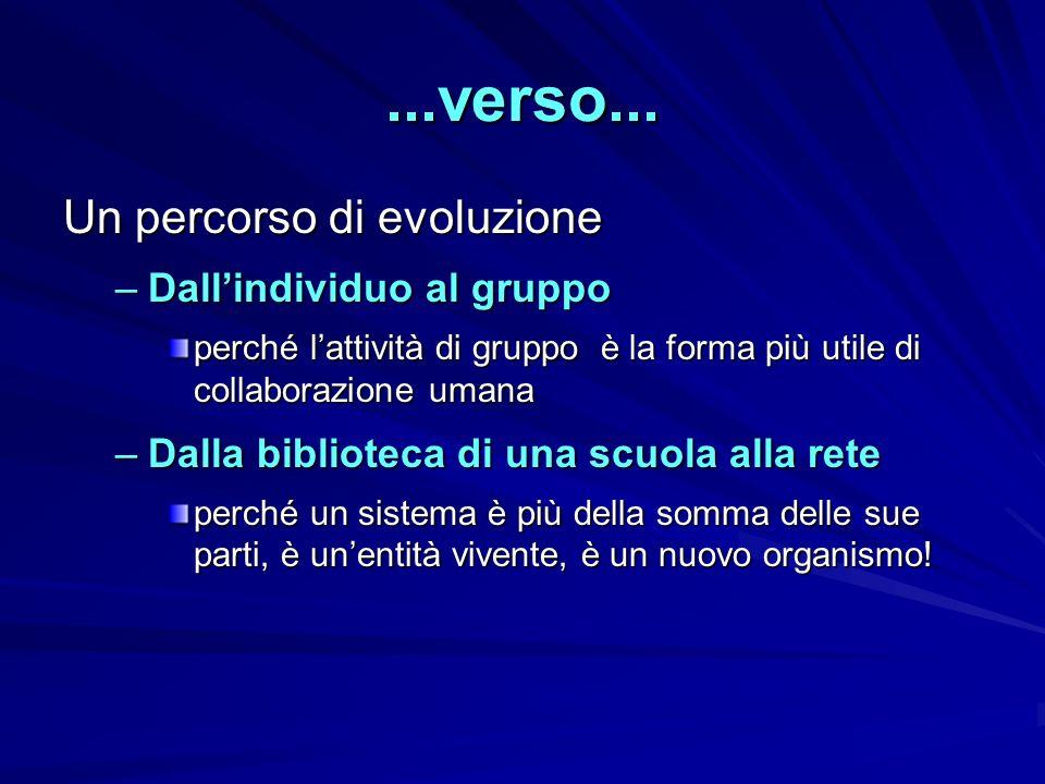 ...verso... Un percorso di evoluzione Dall'individuo al gruppo