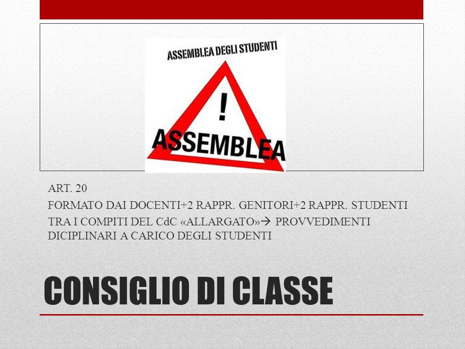 CONSIGLIO DI CLASSE ART. 20