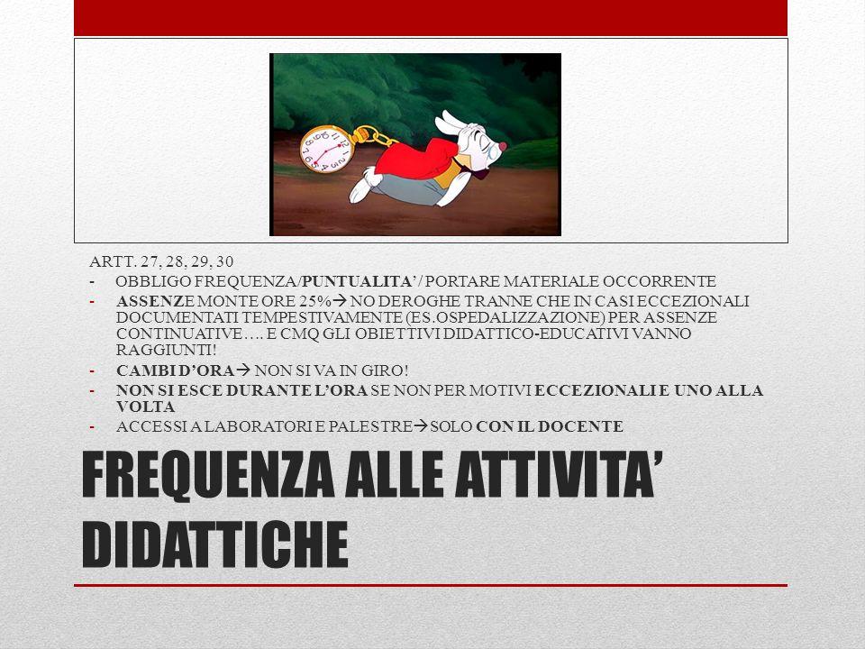 FREQUENZA ALLE ATTIVITA' DIDATTICHE