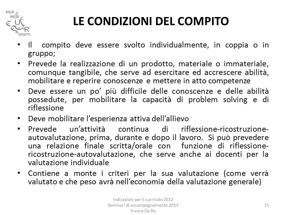 LE CONDIZIONI DEL COMPITO