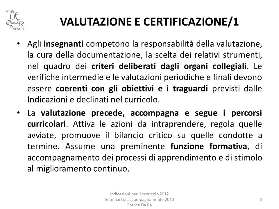 VALUTAZIONE E CERTIFICAZIONE/1