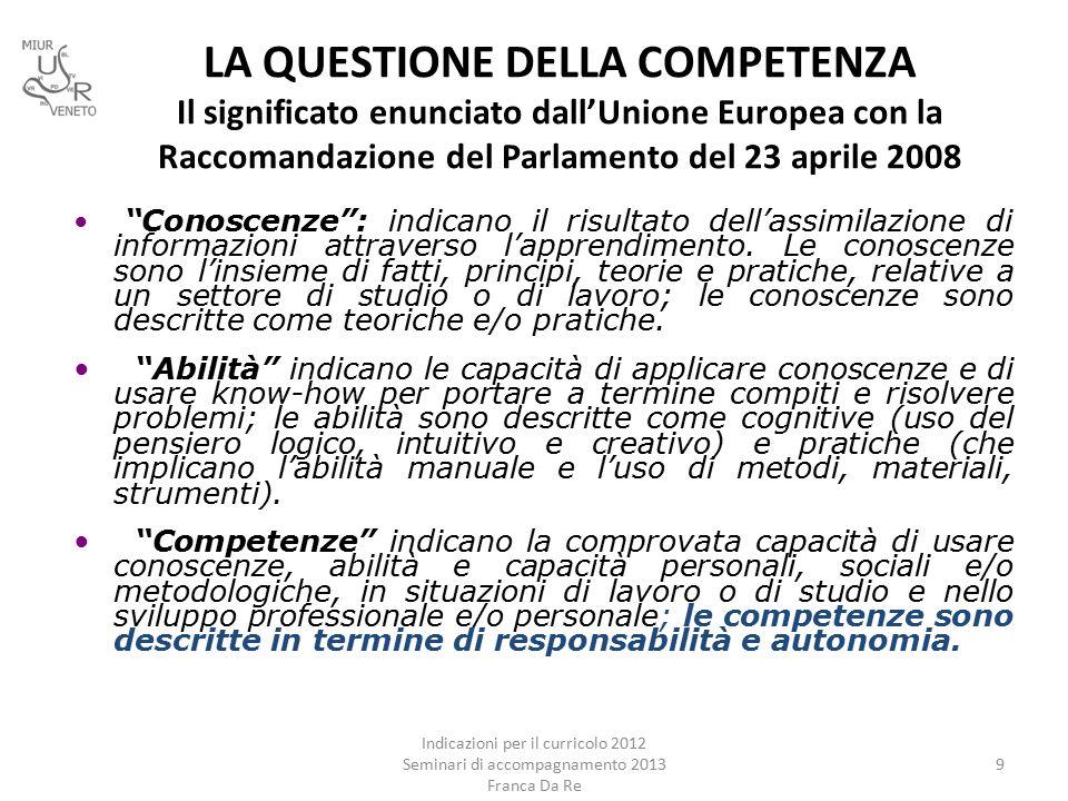 LA QUESTIONE DELLA COMPETENZA Il significato enunciato dall'Unione Europea con la Raccomandazione del Parlamento del 23 aprile 2008