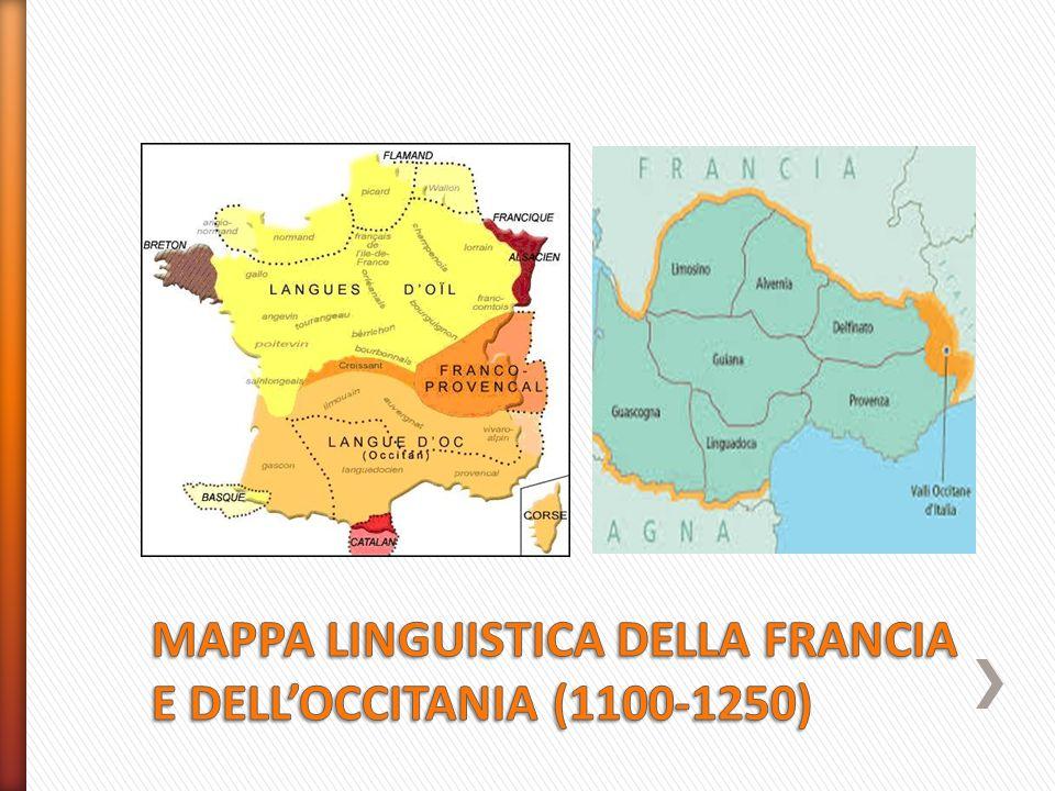 MAPPA LINGUISTICA DELLA FRANCIA E DELL'OCCITANIA (1100-1250)