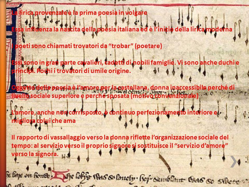 La lirica provenzale è la prima poesia in volgare