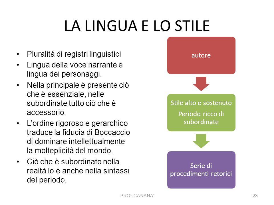 LA LINGUA E LO STILE Pluralità di registri linguistici