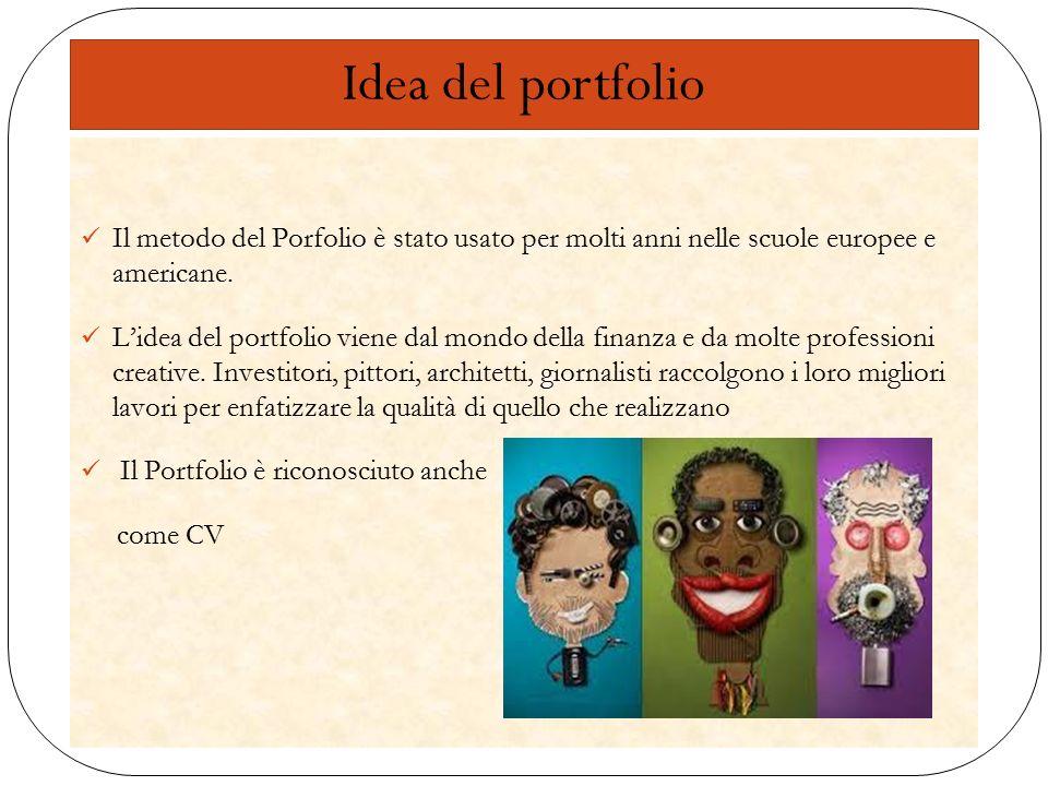Idea del portfolio Il metodo del Porfolio è stato usato per molti anni nelle scuole europee e americane.