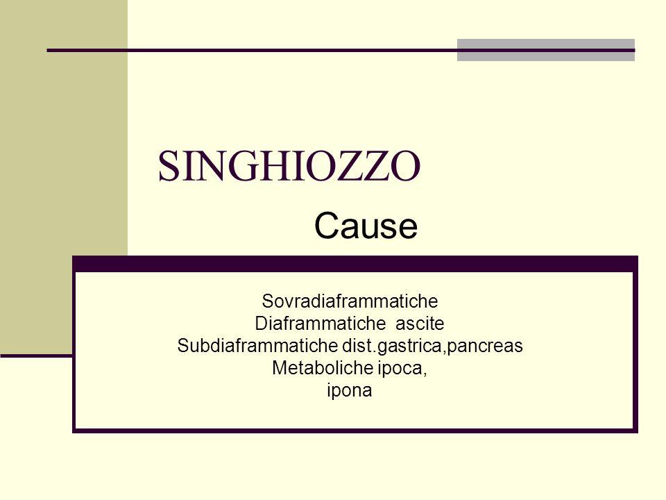 SINGHIOZZO Cause Sovradiaframmatiche Diaframmatiche ascite
