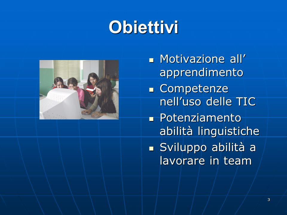 Obiettivi Motivazione all' apprendimento Competenze nell'uso delle TIC