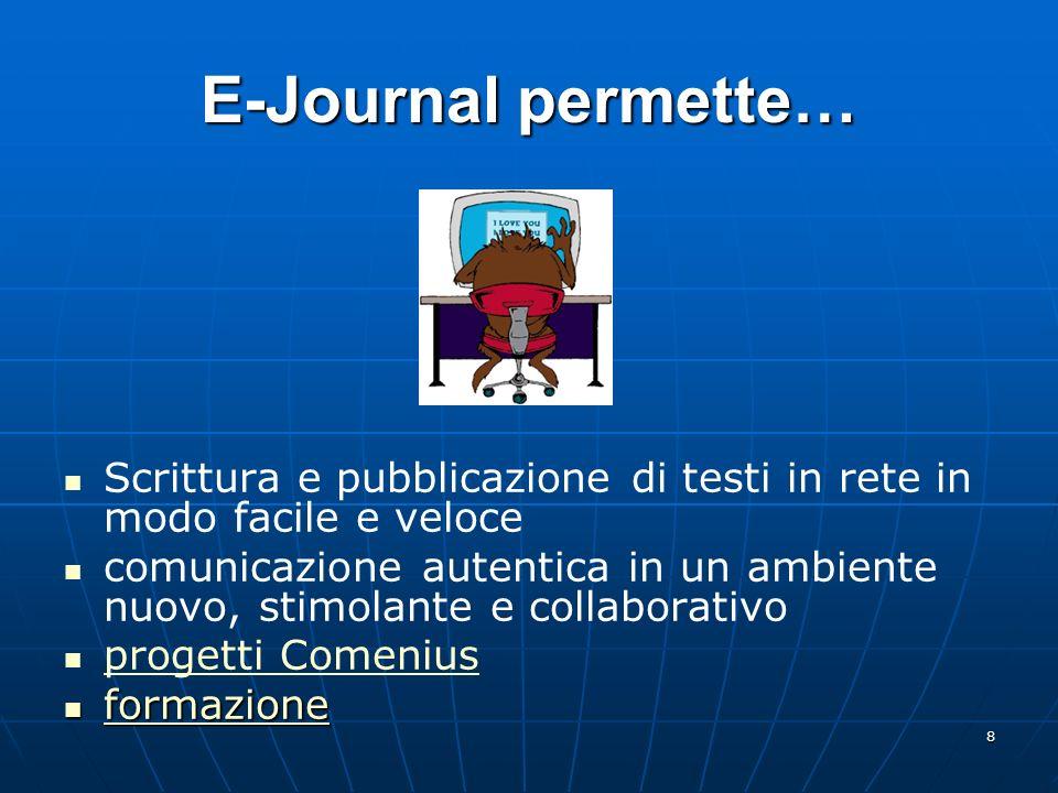 E-Journal permette… Scrittura e pubblicazione di testi in rete in modo facile e veloce.