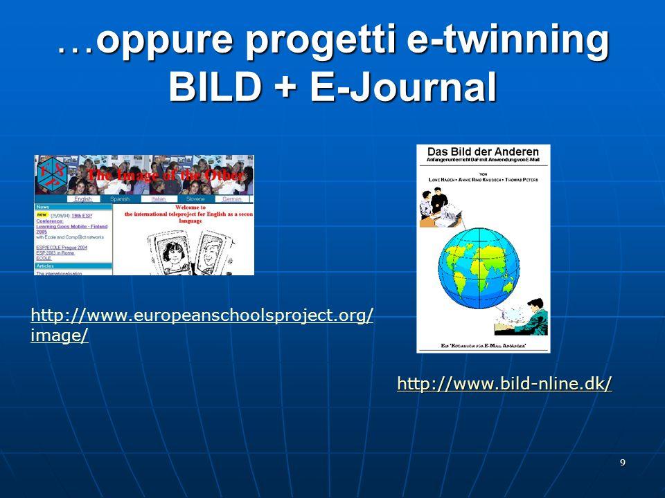 …oppure progetti e-twinning BILD + E-Journal