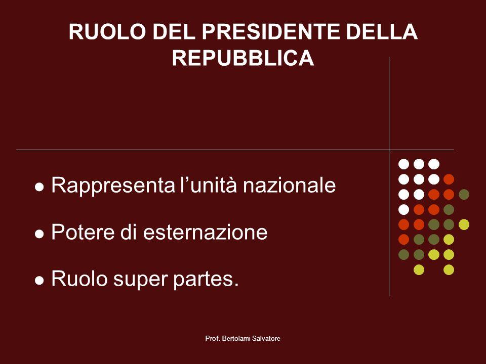 RUOLO DEL PRESIDENTE DELLA REPUBBLICA