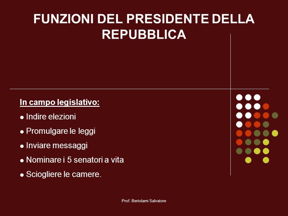 FUNZIONI DEL PRESIDENTE DELLA REPUBBLICA
