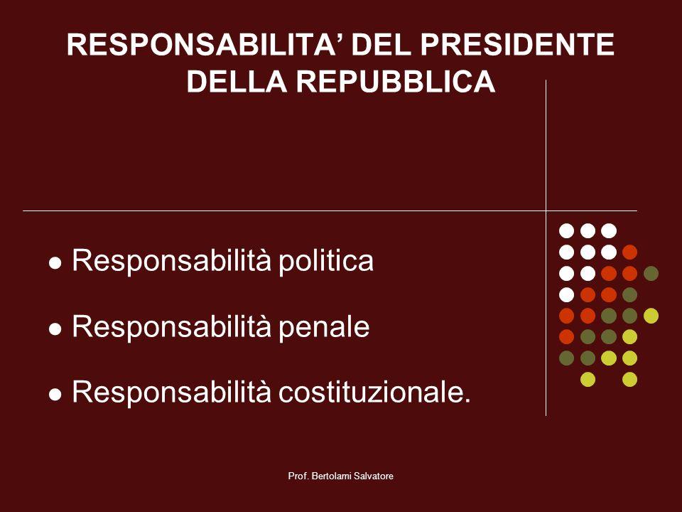 RESPONSABILITA' DEL PRESIDENTE DELLA REPUBBLICA