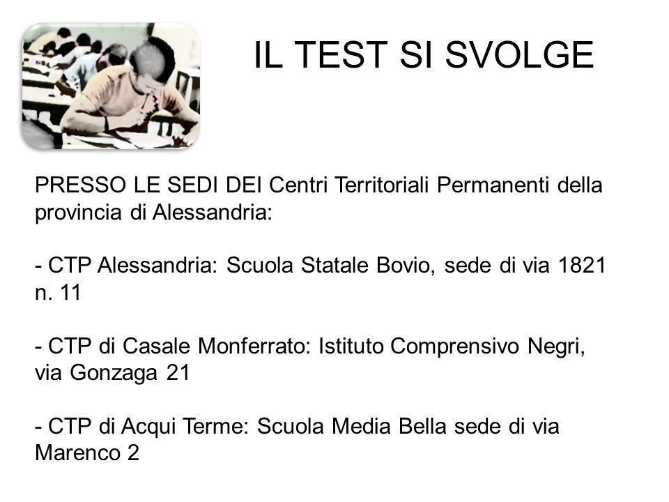 IL TEST SI SVOLGE PRESSO LE SEDI DEI Centri Territoriali Permanenti della provincia di Alessandria: