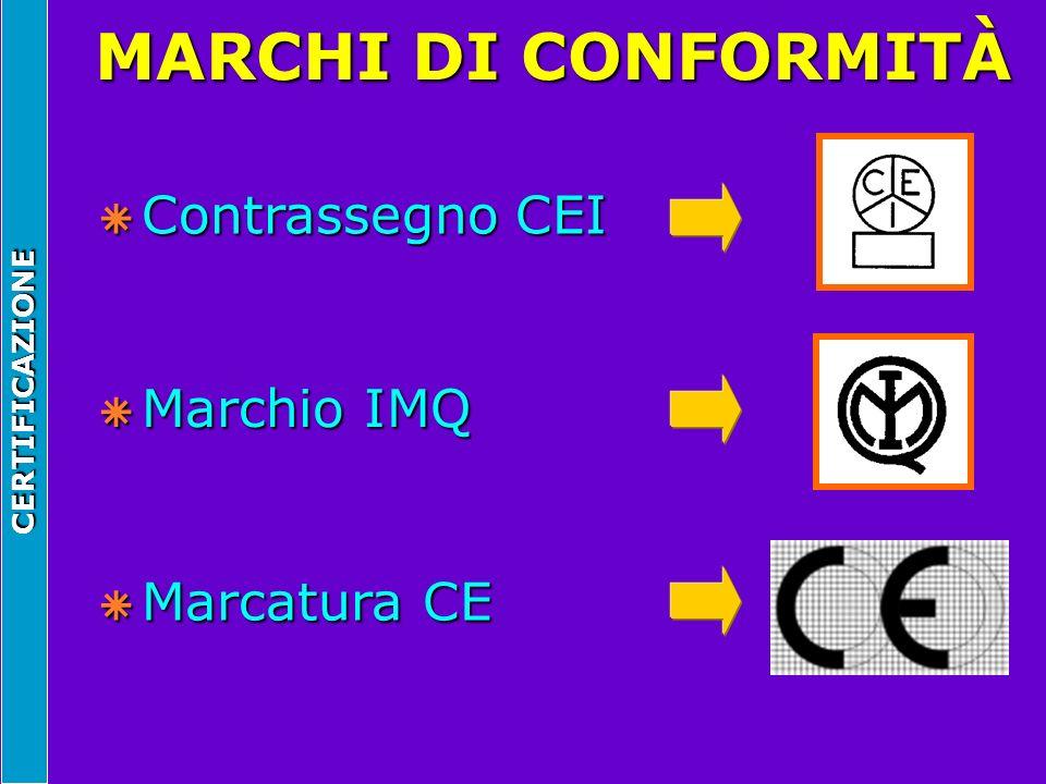MARCHI DI CONFORMITÀ Contrassegno CEI Marchio IMQ Marcatura CE