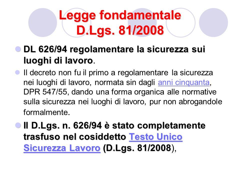Legge fondamentale D.Lgs. 81/2008