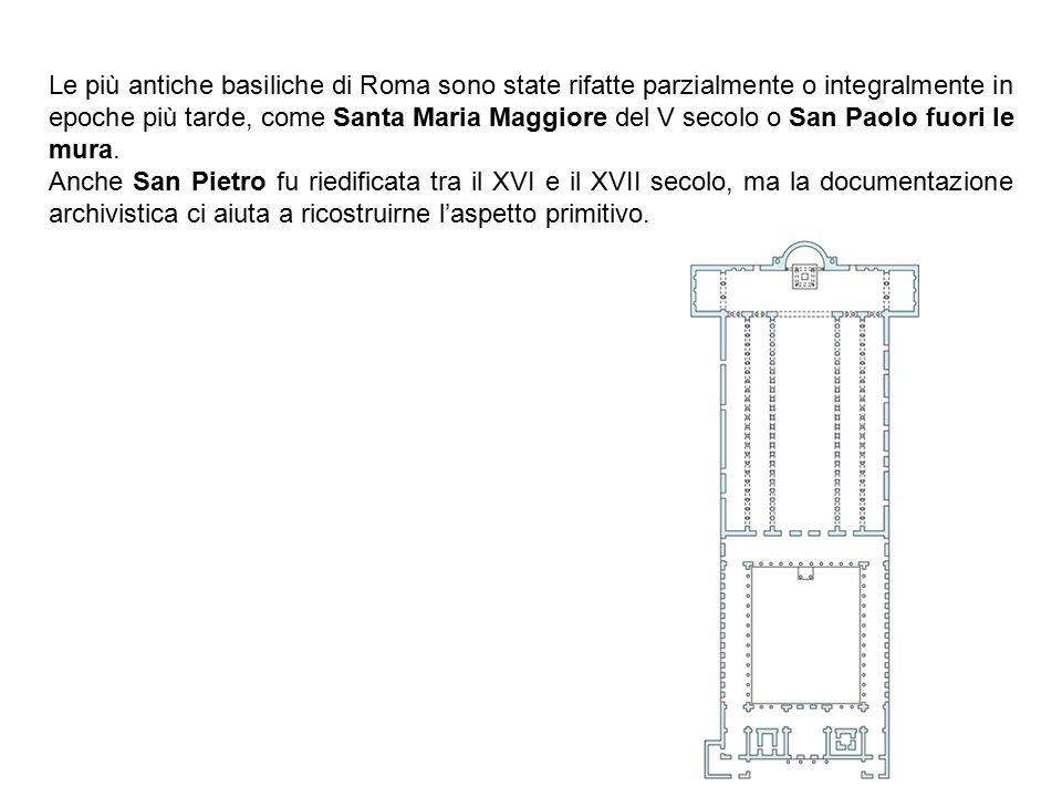 Le più antiche basiliche di Roma sono state rifatte parzialmente o integralmente in epoche più tarde, come Santa Maria Maggiore del V secolo o San Paolo fuori le mura.