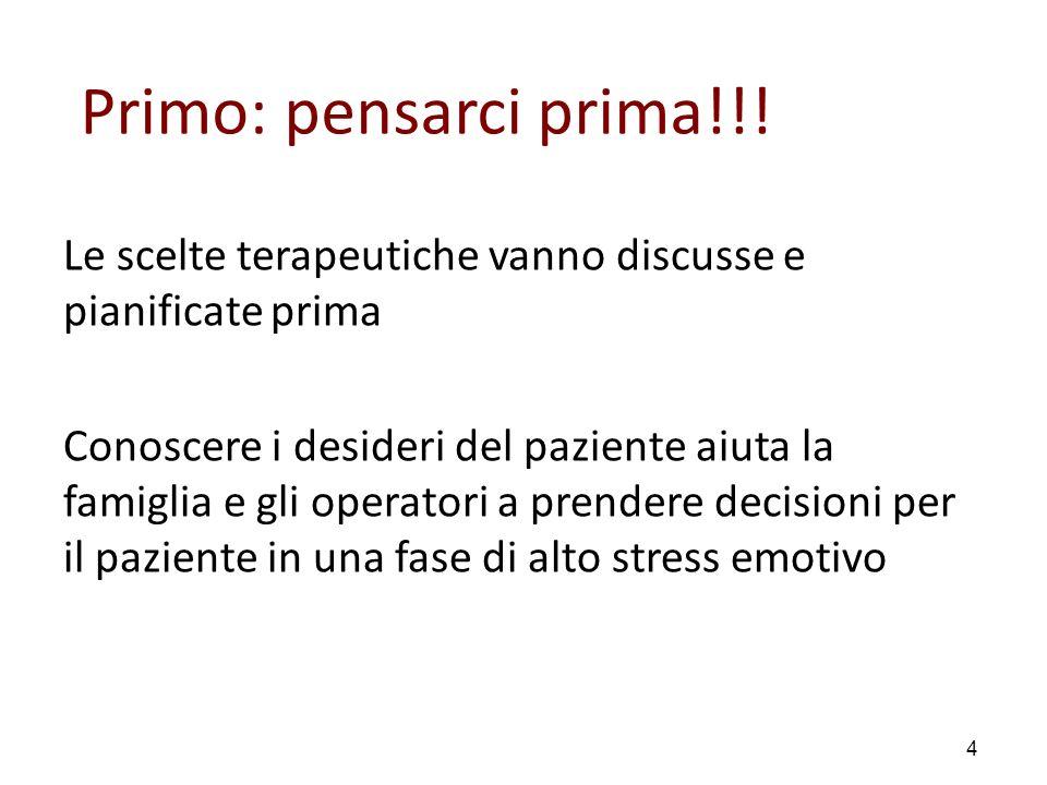 Primo: pensarci prima!!! Le scelte terapeutiche vanno discusse e pianificate prima.