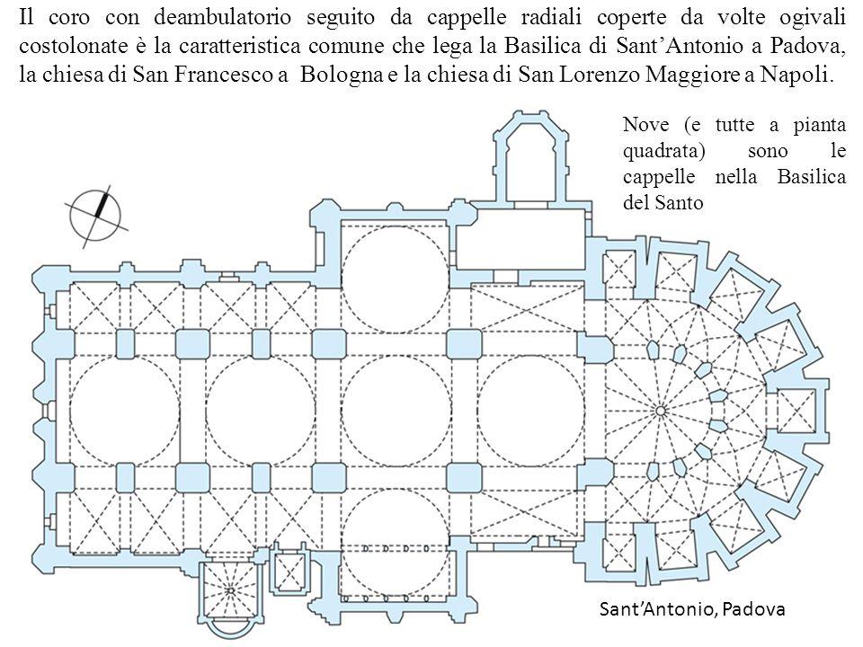 Il coro con deambulatorio seguito da cappelle radiali coperte da volte ogivali costolonate è la caratteristica comune che lega la Basilica di Sant'Antonio a Padova, la chiesa di San Francesco a Bologna e la chiesa di San Lorenzo Maggiore a Napoli.