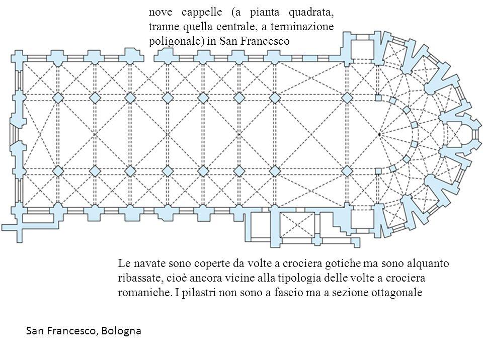 nove cappelle (a pianta quadrata, tranne quella centrale, a terminazione poligonale) in San Francesco