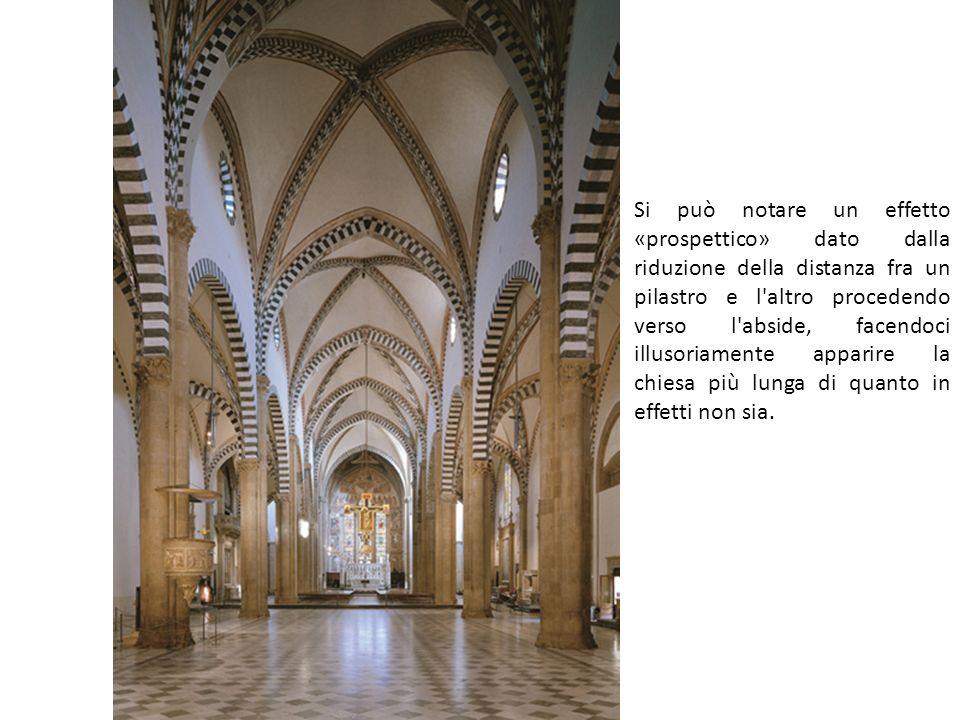 Si può notare un effetto «prospettico» dato dalla riduzione della distanza fra un pilastro e l altro procedendo verso l abside, facendoci illusoriamente apparire la chiesa più lunga di quanto in effetti non sia.