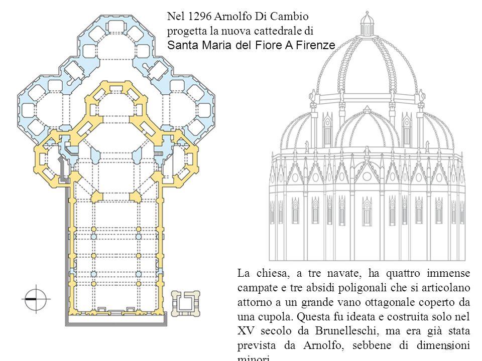 Nel 1296 Arnolfo Di Cambio progetta la nuova cattedrale di Santa Maria del Fiore A Firenze