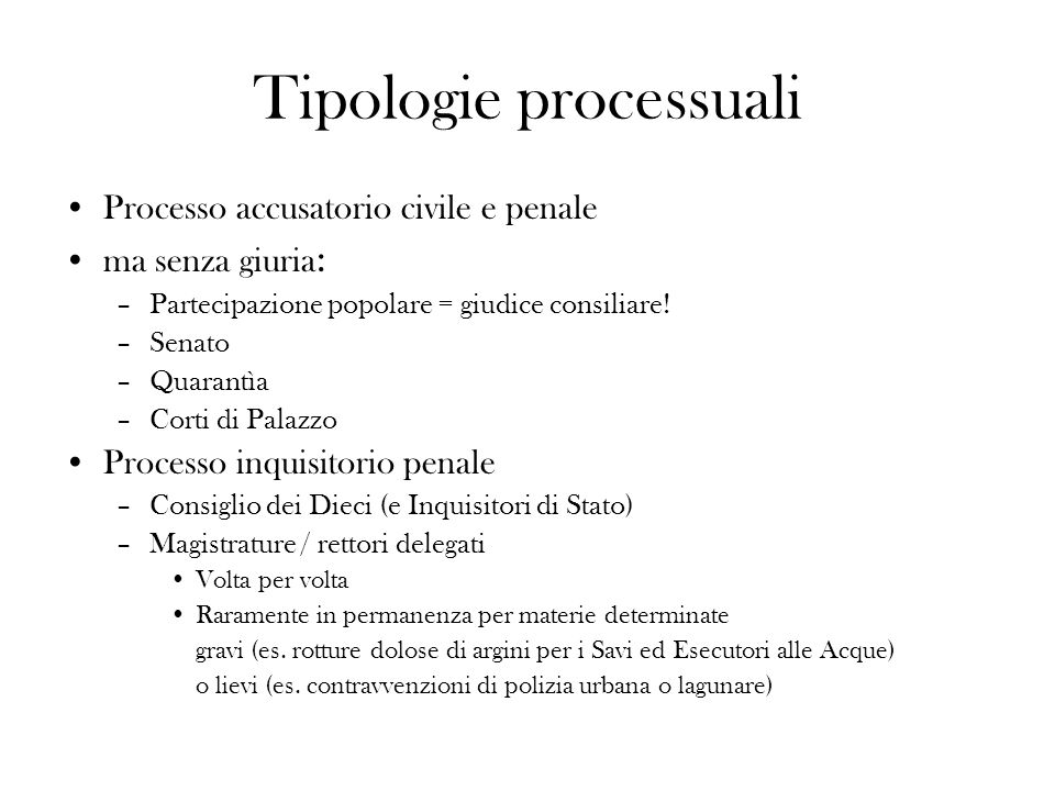 Tipologie processuali