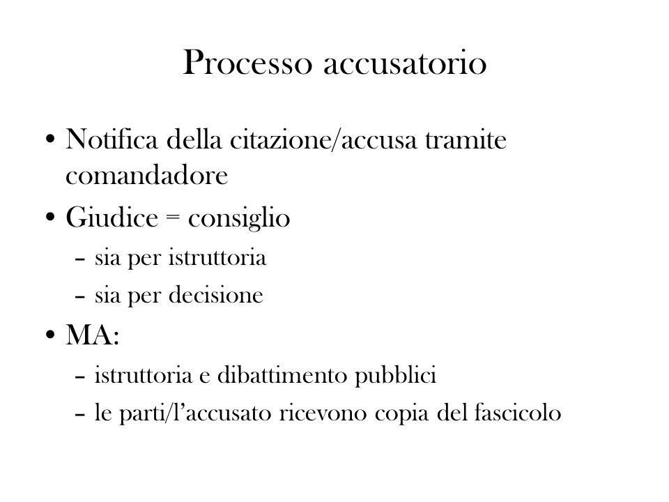Processo accusatorio Notifica della citazione/accusa tramite comandadore. Giudice = consiglio. sia per istruttoria.