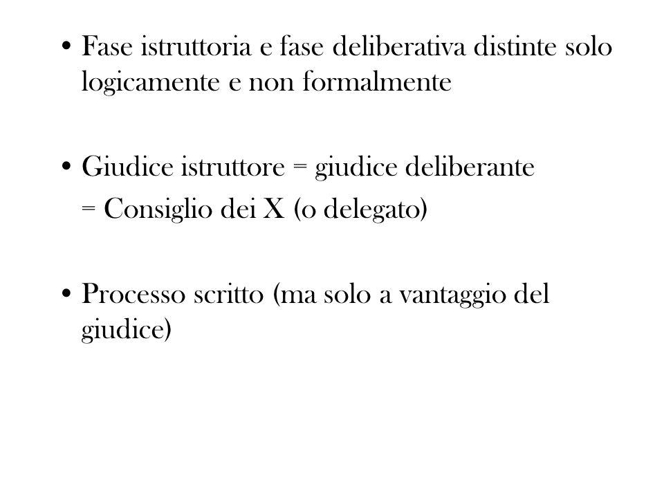 Fase istruttoria e fase deliberativa distinte solo logicamente e non formalmente