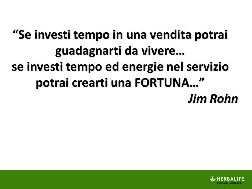 Se investi tempo in una vendita potrai guadagnarti da vivere… se investi tempo ed energie nel servizio potrai crearti una FORTUNA…