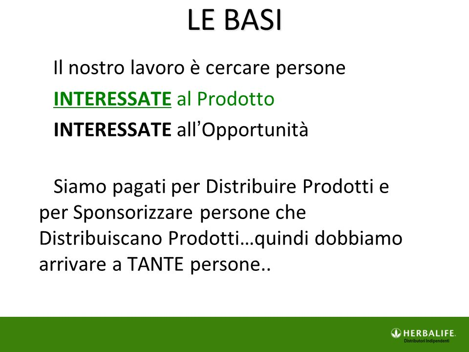 LE BASI INTERESSATE al Prodotto INTERESSATE all'Opportunità