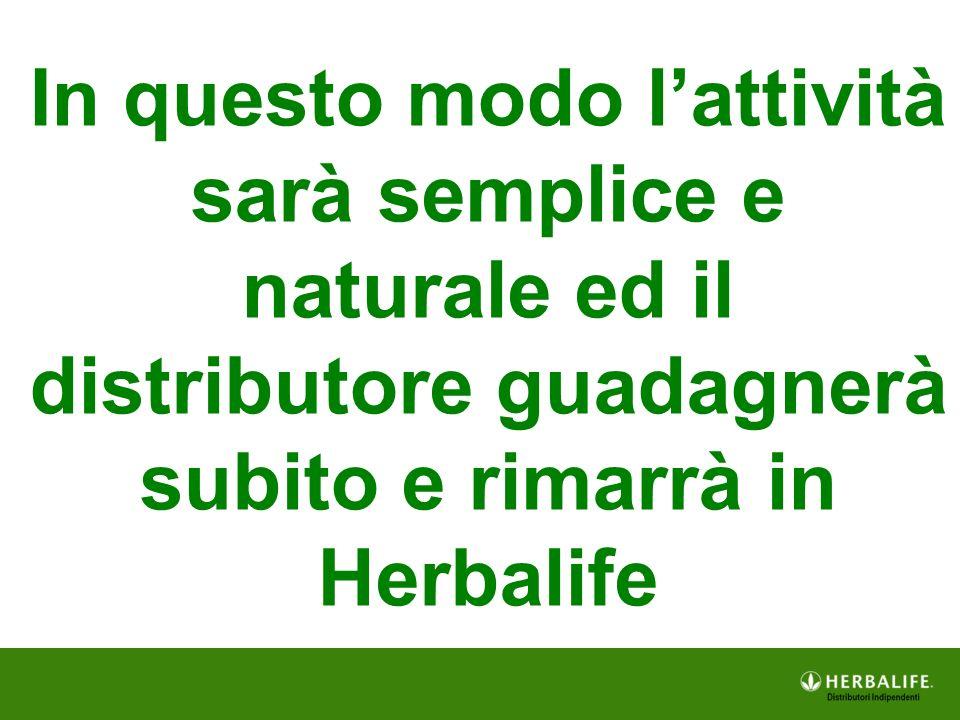 In questo modo l'attività sarà semplice e naturale ed il distributore guadagnerà subito e rimarrà in Herbalife