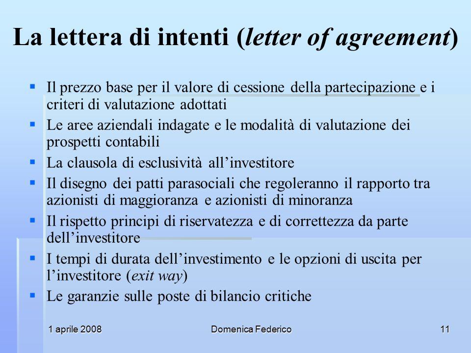 La lettera di intenti (letter of agreement)
