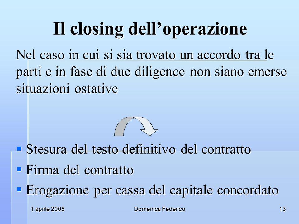 Il closing dell'operazione