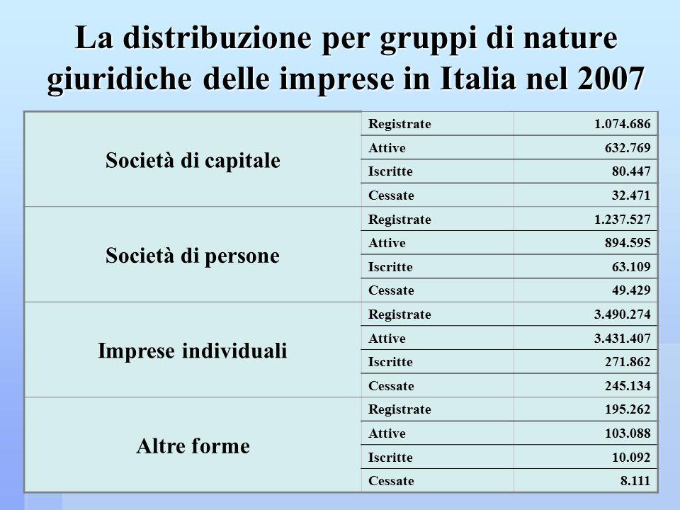 La distribuzione per gruppi di nature giuridiche delle imprese in Italia nel 2007