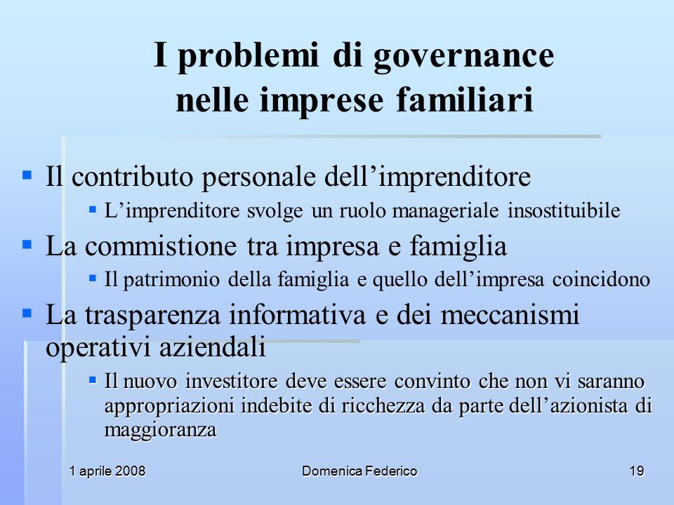 I problemi di governance nelle imprese familiari