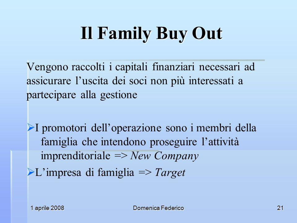 Il Family Buy Out Vengono raccolti i capitali finanziari necessari ad assicurare l'uscita dei soci non più interessati a partecipare alla gestione.