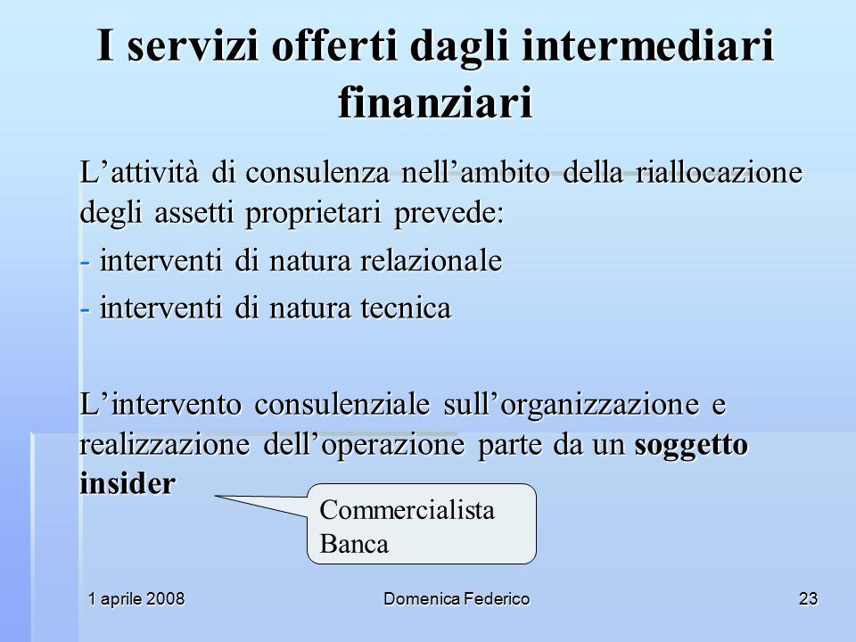 I servizi offerti dagli intermediari finanziari