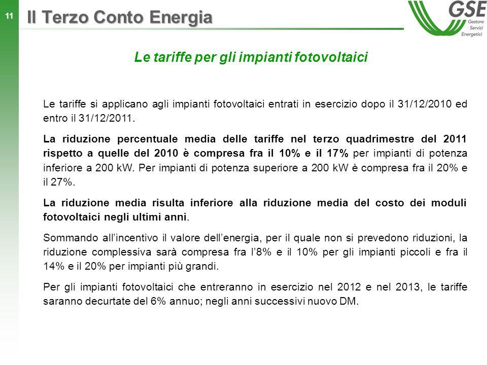 Le tariffe per gli impianti fotovoltaici