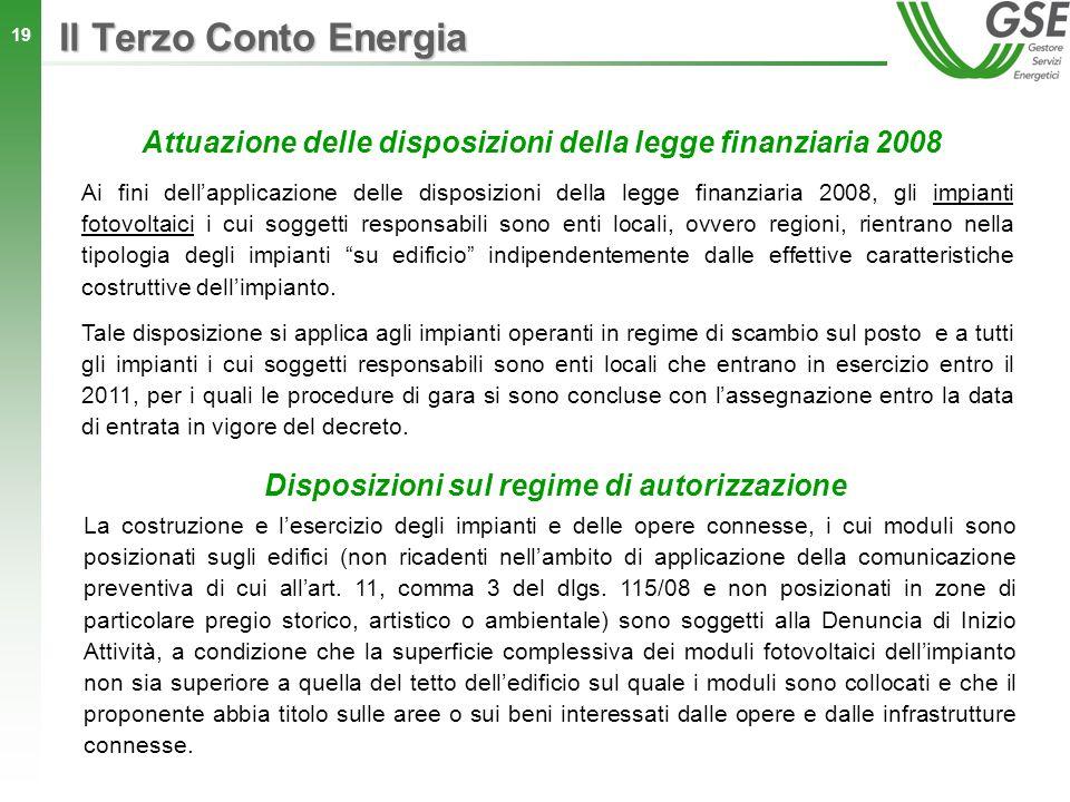 Il Terzo Conto Energia Attuazione delle disposizioni della legge finanziaria 2008.