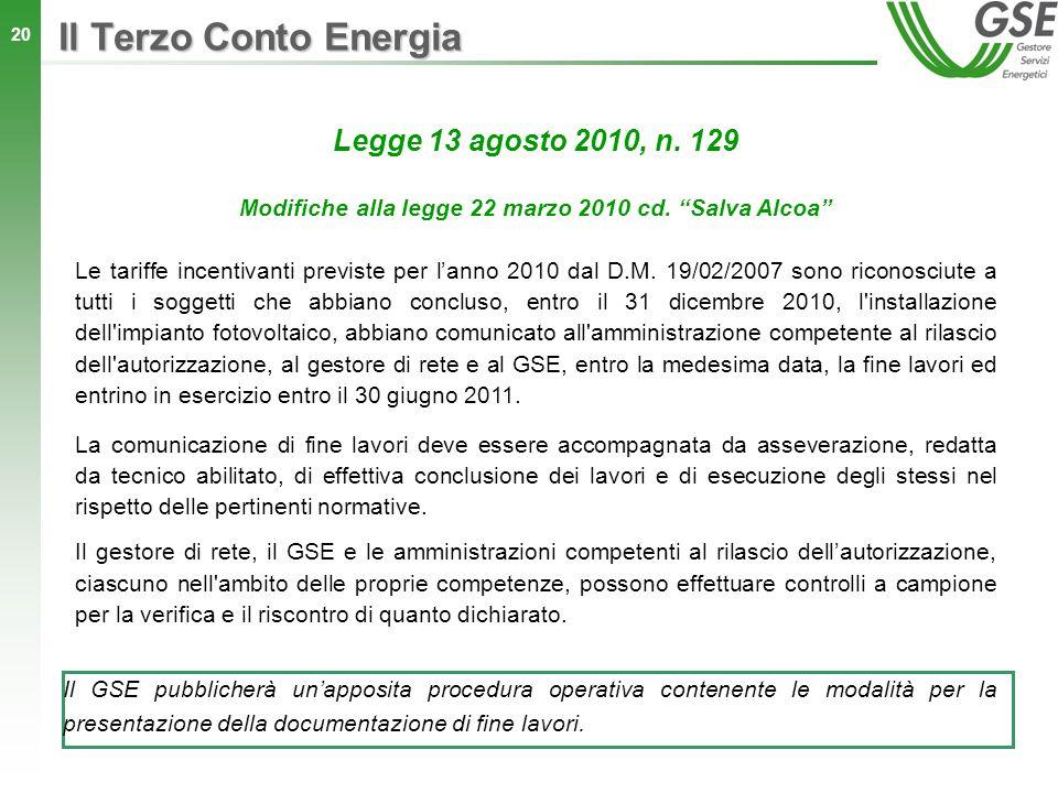 Modifiche alla legge 22 marzo 2010 cd. Salva Alcoa