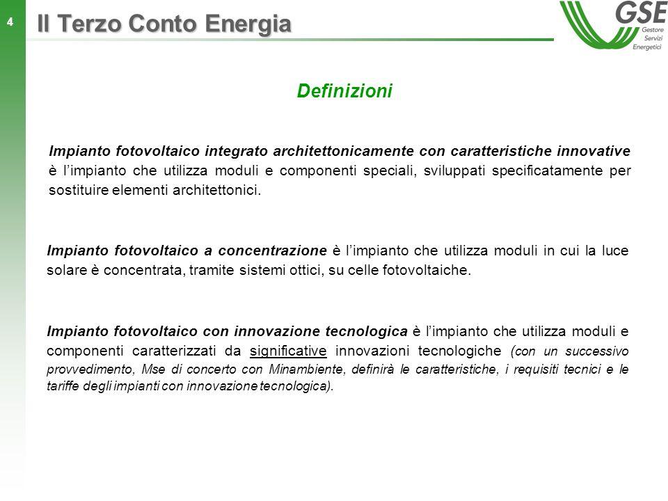 Il Terzo Conto Energia Definizioni