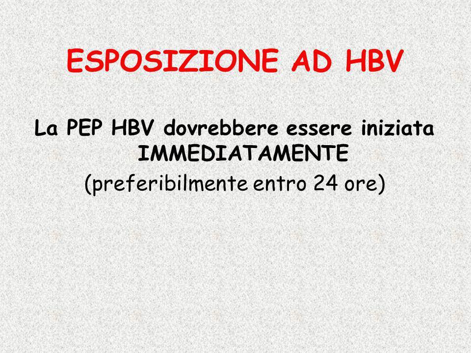ESPOSIZIONE AD HBV La PEP HBV dovrebbere essere iniziata IMMEDIATAMENTE (preferibilmente entro 24 ore)