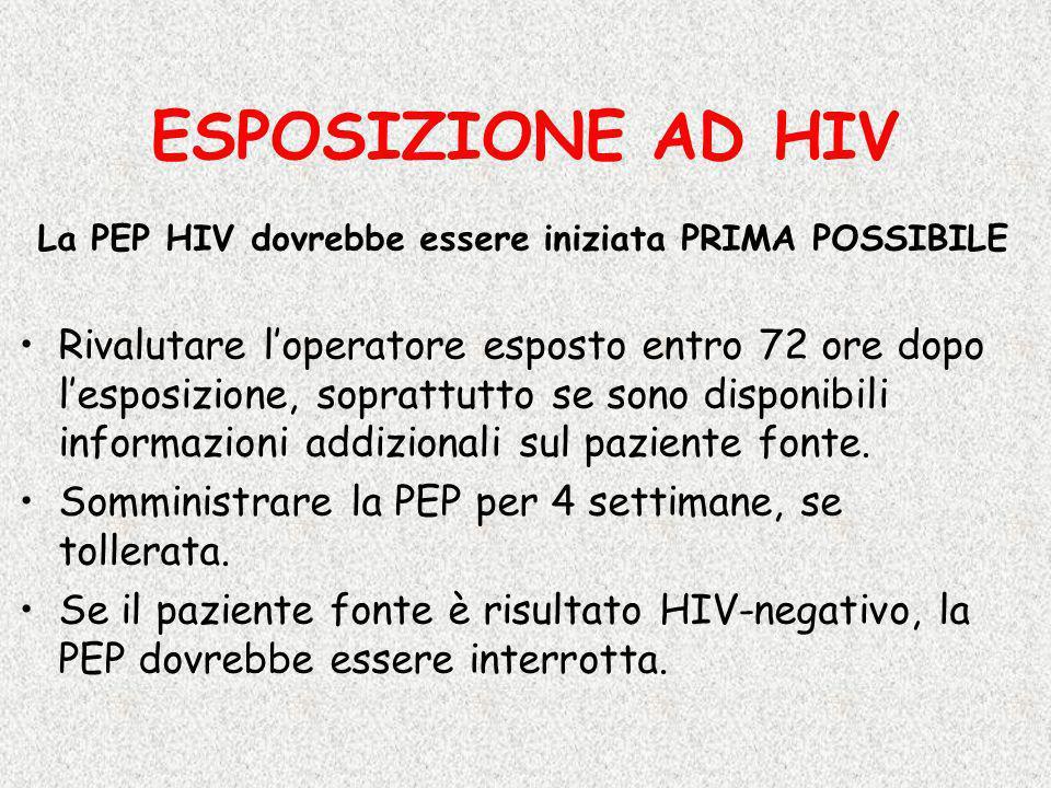La PEP HIV dovrebbe essere iniziata PRIMA POSSIBILE