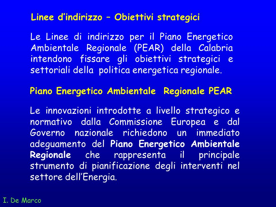 Linee d'indirizzo – Obiettivi strategici